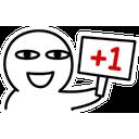 Sticker tagged +1, Eu Também, +1, Eu também